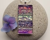Necklace Textile and Glass Purple