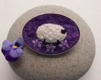 Felt Sheep Brooch Pin Purple