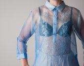 crystal dream organza sheer blouse / oversized blouse / sheer dress shirt / s / m / 1238t