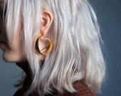 lady oscar gold coiled hoop earrings / loop hoop earrings / gold hoop earrings / 904a