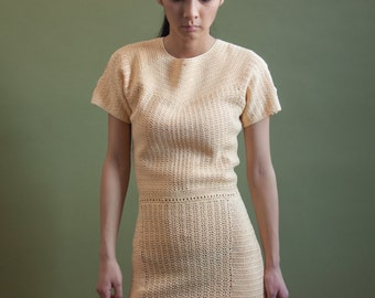 40s yellow crochet knit tea dress / knit midi dress / crochet tea dress / xs / 1777d