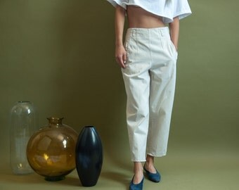 beige cropped khaki pants / high waist trousers / cotton trousers / s / 1723t