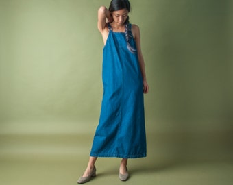 denim jumper dress / overall dress / maxi dress / s / 2015d / B7