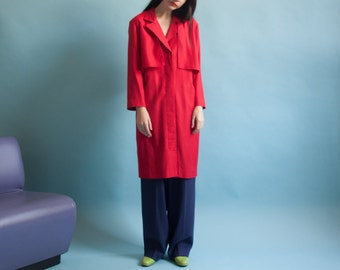 red trench style dress / trench coat dress / 80s midi dress / s / 1053d / B13