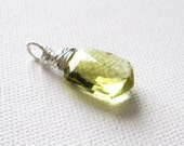 Oro Verde Quartz Sheild Cut Briolette Sterling Silver Wire Wrapped Pendant UK Seller Contemporary Yellow Gemstone Gift Idea