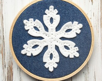 Wool Felt Snowflake - Denim Fabric Hoop Art -  Hand Embroidered