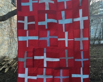 cotton crosses quilt red and gray --- double or queen topper quilt -- modern improv