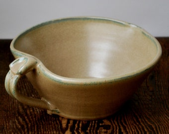 Large Cream Batter Bowl with Thumb Rest Stoneware Clay Pottery Ready to Ship
