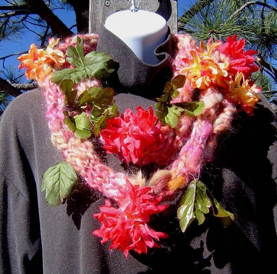 Mums the Word Scarf - Handmade from Handspun Art Yarn