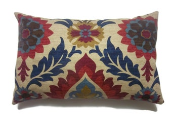 Decorative Pillow Cover Lumbar Ikat Crimson Red Gold Navy Blue Light Blue Camel Toss Throw Accent Cover   12x18 inch