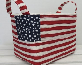 Patriotic Organizer Storage Fabric Bin Basket Bucket Container Organization - White Stars on Navy paired with Red / White Stripe Fabric