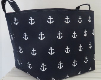 "Fabric Organizer Bin Toy Storage Container Basket - White Anchors on Navy Blue Fabric - 10"" x 10"" x 10"" tall"