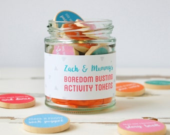 Mummy And Me Personalised Boredom Busting Tokens Jar - Activity Ideas - Mother's Day Gift - Mummy Keepsake - New Mum Gift - Gift For Mum