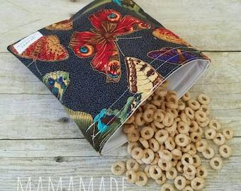 Elegant Butterflies - Medium Reusable Sandwich Bag from green by mamamade