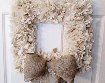 Burlap and Muslin Rag Wreath, Rustic Wreath with Bow, Rustic Decor, Beach Decor, Neutral Wreath, Burlap Wreath, Rustic Wedding Square 18""