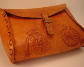 Handmade Leather Tooled Bicycle Gear Bag