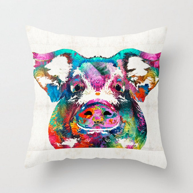 Throw Pillow Colorful Pig Art Design COVER Sofa Bed Chair