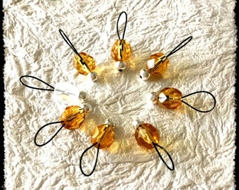 Snag Free Stitch Markers Small Set of 8 - Amber Faceted Glass -- K45 -- Up to size Us 8 (5.0mm) Knitting Needles