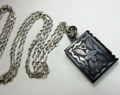 RESERVED --  Antique Victorian Jet (Lignite or Whitby Jet) Hand Carved Book Charm Pendant with Sterling Chain, Mourning Jewelry (1860's)