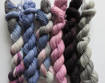 August Sale 15% Off -- Hand Dyed SW Merino/Nylon 2-Ply Sparkle Mini Skeins 20 Grams/87 Yards -- Queen Of the Nobodies and Friends