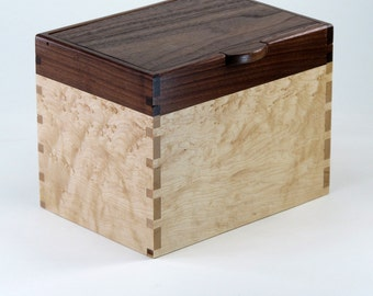 Keepsake Box, Black Walnut Wood and Birds Eye Maple Wood