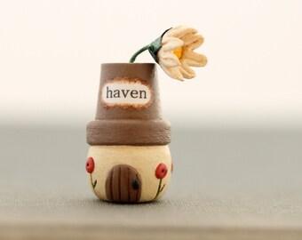 Miniature Gnome Home- Tiny Sculpture- Terrarium, Housewarming Gift