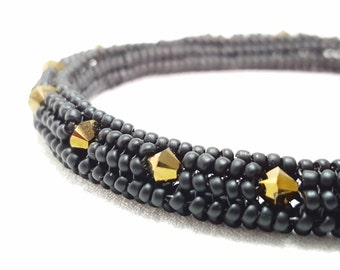 Beadwoven Soft Bangle - Matte Black and Dorado Gold Swarovski Crystals
