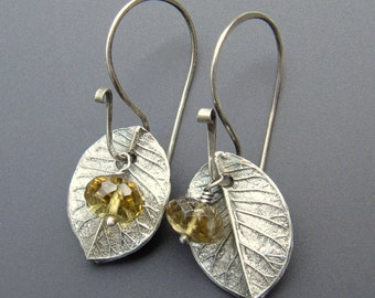 Sterling Silver Fine Silver and Microfaceted Citrine Dangle Earrings