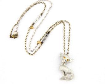 Sophie - Vintage Pewter Cat Pin Necklace