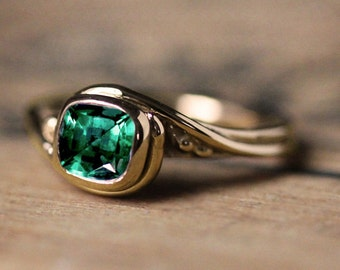 Emerald engagement ring, ethical engagement ring, yellow gold engagement ring, Chatham emerald, lab created emerald ring, Pirouette custom