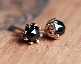 Black spinel stud earrings, rose gold studs, rose cut earrings, black diamond studs, gold stud earings, wife jewelry gift, ready to ship