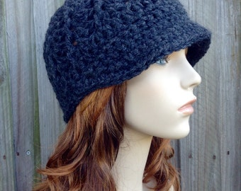 Grey Crochet Hat Grey Womens Hat Charcoal Grey Newsboy Hat - Pippa Swirl Crochet Newsboy Hat - Grey Hat Womens Accessories