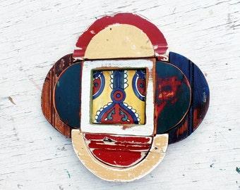 Reclaimed Wood Mosaic Art, Framed Navajo Tile,  Rustic Home Decor, Southwestern Decor, Bohemian Decor, Rustic Wall Art, Wood Wall Art