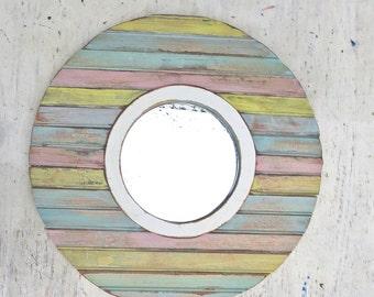 Circular Mirror, Nautical Mirror, Reclaimed Wood Mirror, Rustic Mirror Florida Mirror, Pastel Mirror, Porthole Mirror,Round Mirror
