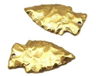 Large Brass Arrowhead Pendants (2X) (M650-A)