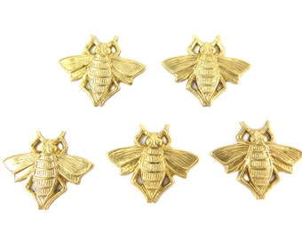 Brass Buble Bee Charms (6X) (M844)