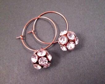 White Glass Rhinestone Dragonball Earrings, Rose Gold Tone, Copper Hoop Earrings, FREE Shipping U.S.