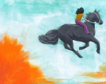 Rise Above - Original Acrylic Painting of girl riding a horse girl room nursery art