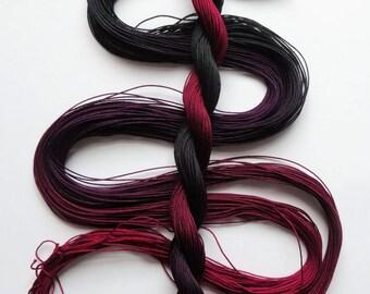 "Size 20 ""Midnight Oil"" hand dyed thread 6 cord cordonnet tatting crochet cotton"