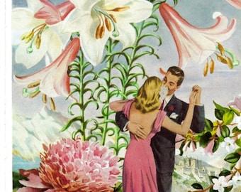 Spring Garden Dance Artwork, Original Art Collage on Old Book Page, Vintage Book Page Art, Easter Lily Flower Dancer Art, Dancing Couple Art