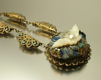 Vintage/ Antique Art Deco 1930s/ 1940s brass filigree. lapis and mother of pearl, butterfly costume necklace - jewelry jewellery