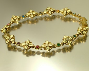 Vintage/ estate 1950s gold tone, painted flower and glass paste, costume bracelet - jewelry jewellery