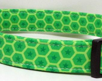 Green on Lime Green on Green Honeycomb & Stars Printed Handmade Dog Collar