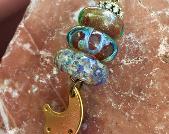 Lampwork Glass Beaded Lariat Necklace Interchangable Boro Borosilicate Handmade - Time Stops for No One