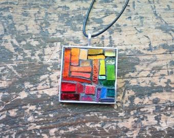 Rainbow Patchwork Mosaic Pendant with Silver Bezel