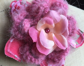 SALE Pink handmade flower floral brooch corsage accessory