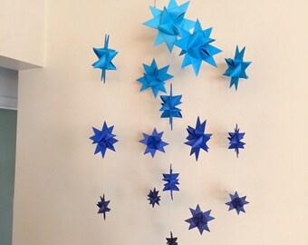 Baby Crib Mobile Hanging Origami Stars -'Milky Way Major' Dark Blues
