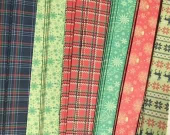 "3/4"" Weaving Star Paper~ Holiday Plaid Prints (50 strips)"