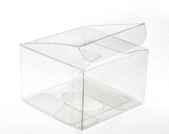 Twenty (20) 3 x 3 x 2 Clear Vinyl Plastic Gift Boxes