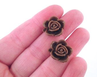 10 15mm brown rose cabochons